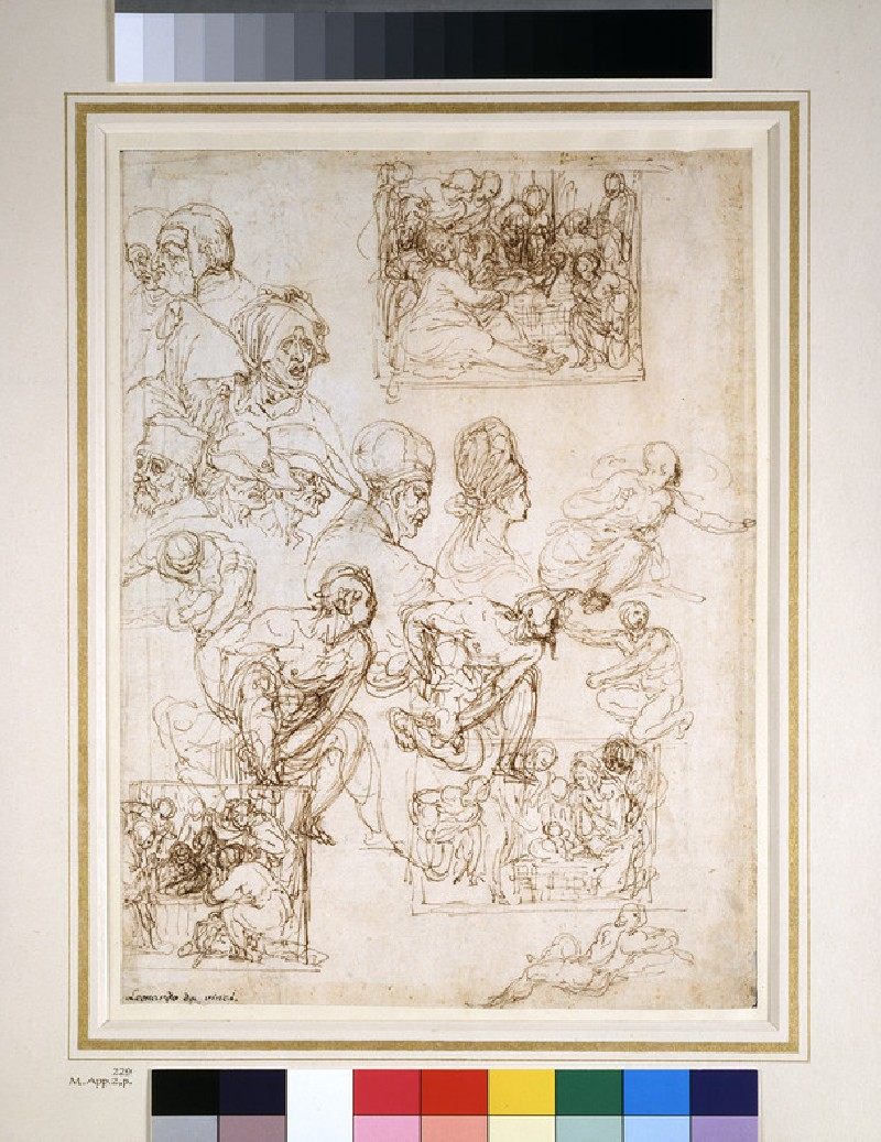 Recto: Studies of an Adoration and of various Heads<br />Verso: Two lightly sketched figures