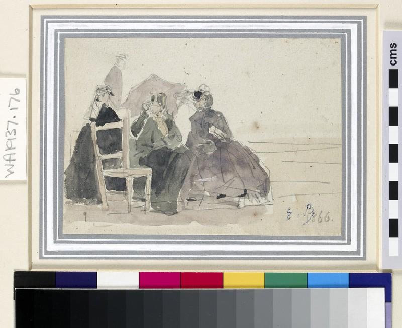 Three women seated on chairs on a beach (WA1937.176)