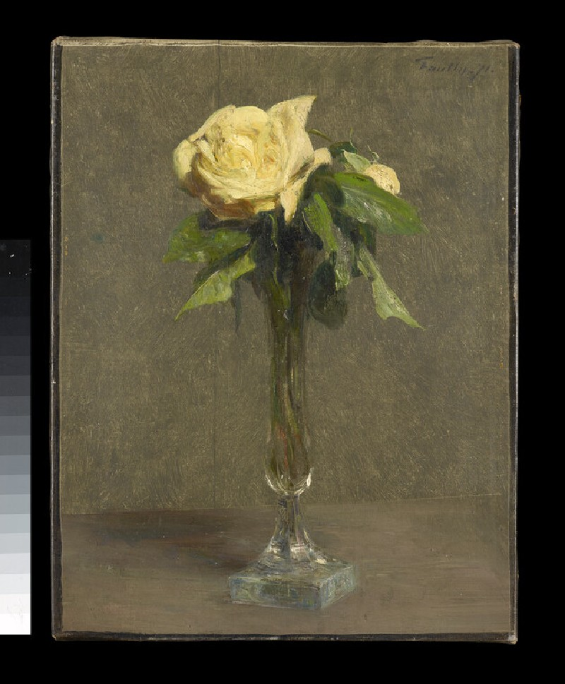 Two Yellow Roses in a glass bud vase (WA1937.42)