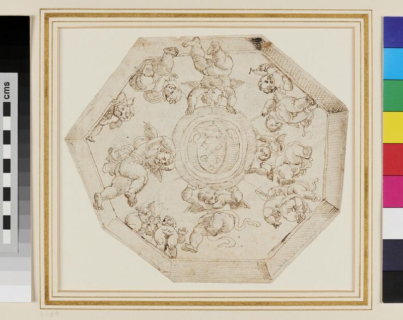 Sketch of the octagonal Ceiling in the Stanza della Signatura