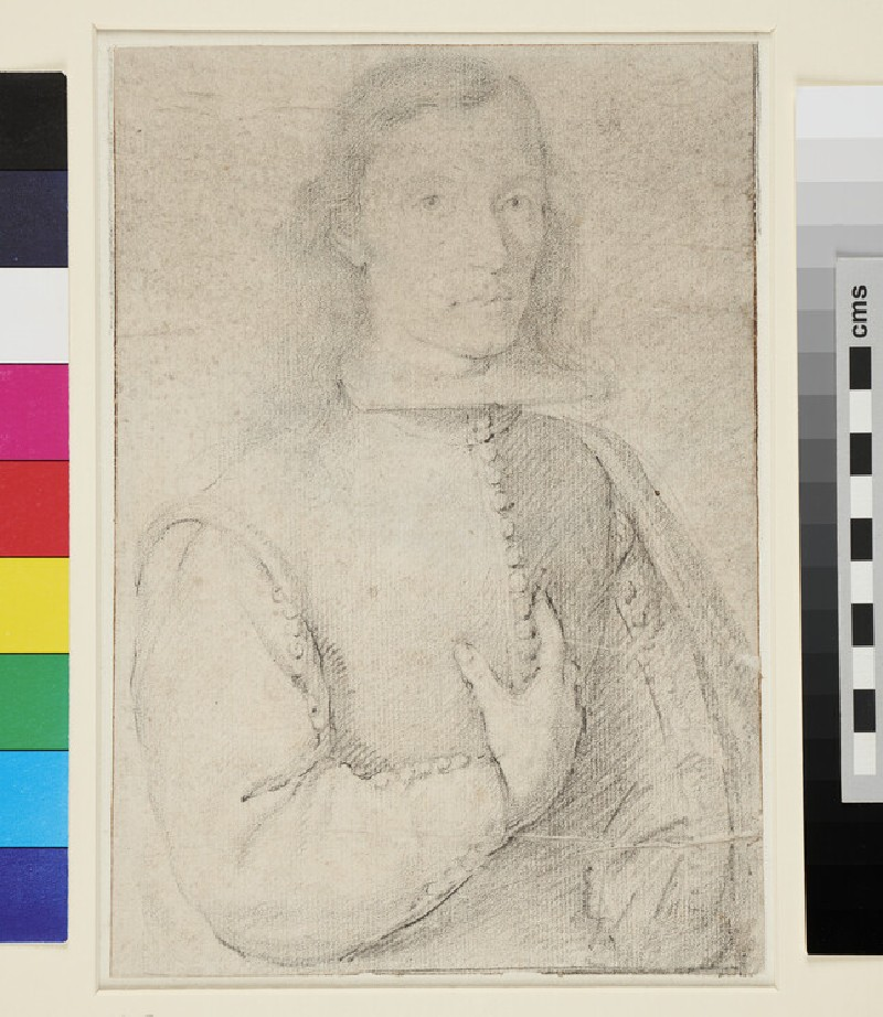 Recto: Portrait of a Man, with his right hand on his breast
