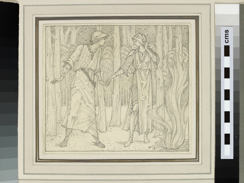 Study of two figures in a forest clearing next to a fire