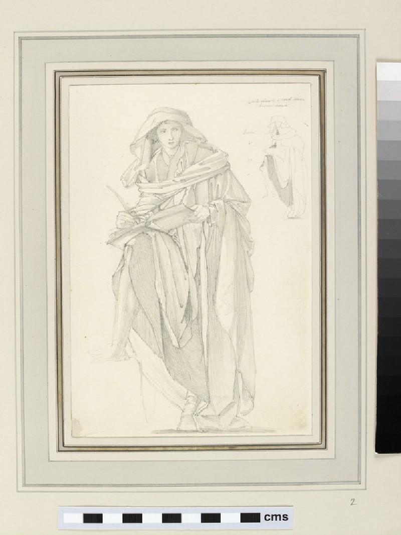 Study of a figure in a hood and cloak (St Luke)