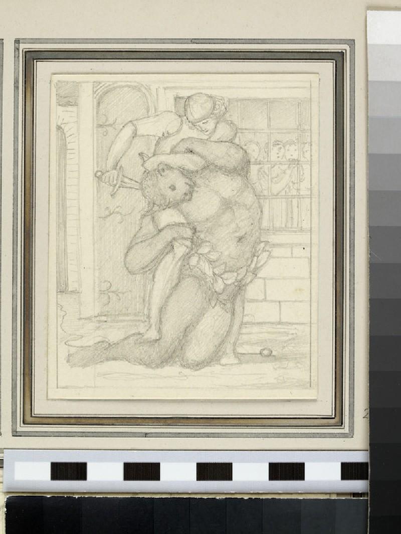 Sketch of Theseus killing the Minotaur