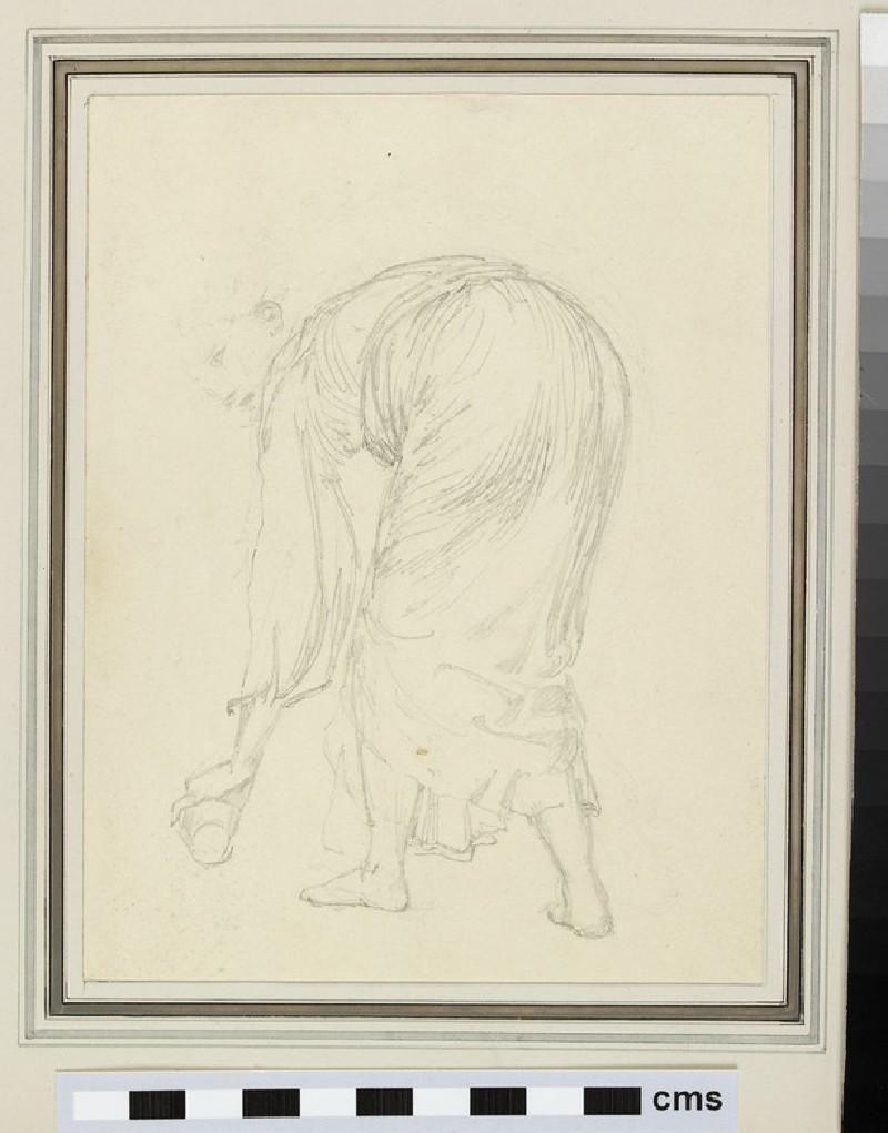Sketch of a female figure bending forwards