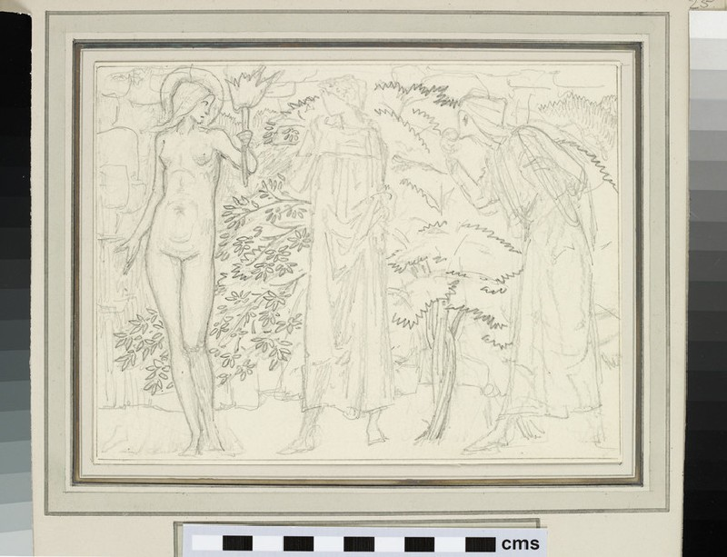 Sketch of three figures in a landscape, one nude and holding a flaming torch (WA1939.9.37)