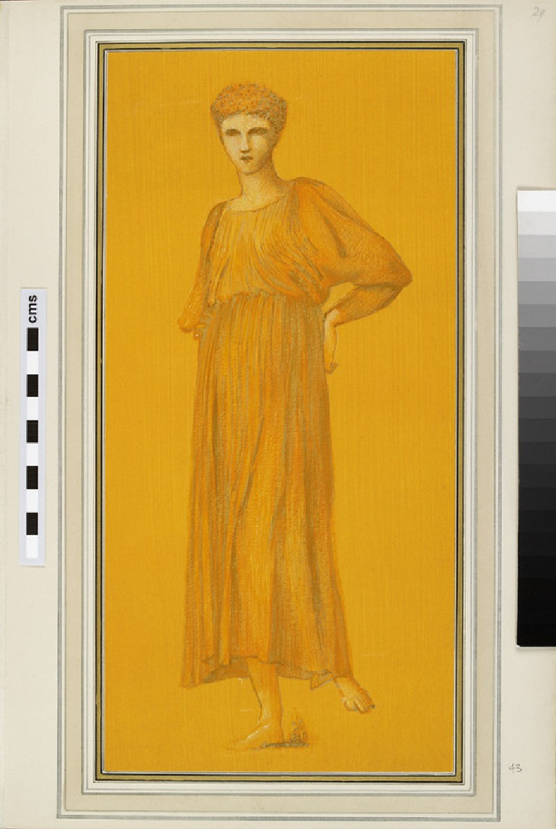 A standing figure in antique dress