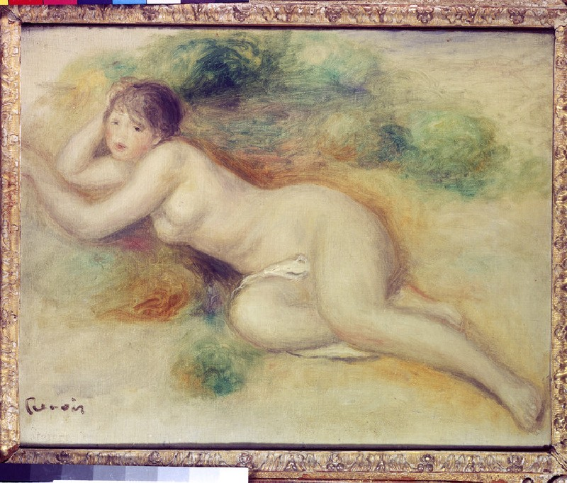 Study of a nude girl reclining to the left (WA1940.1.25)