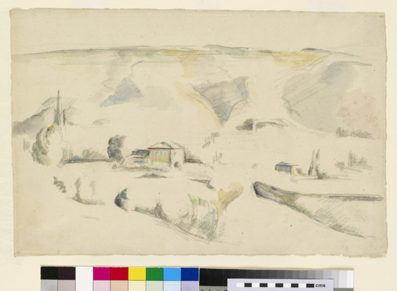 Recto: A view across a valley<br />Verso: Faint traces of a view with a viaduct and a tree on the right