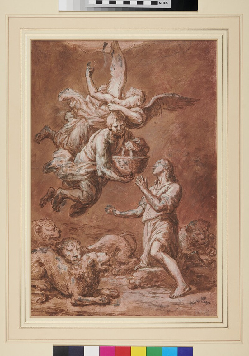 Recto: The Angel conducting Habakkuk to help Daniel in the Lions' den<br />Verso: study of a coat of arms