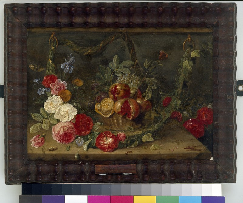 Decorative Still-Life Composition with a Basket of Fruit