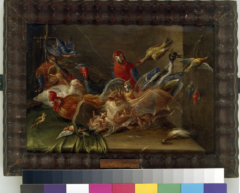 Decorative Still-Life Composition with Birds and Two Bats (WA1940.2.47)