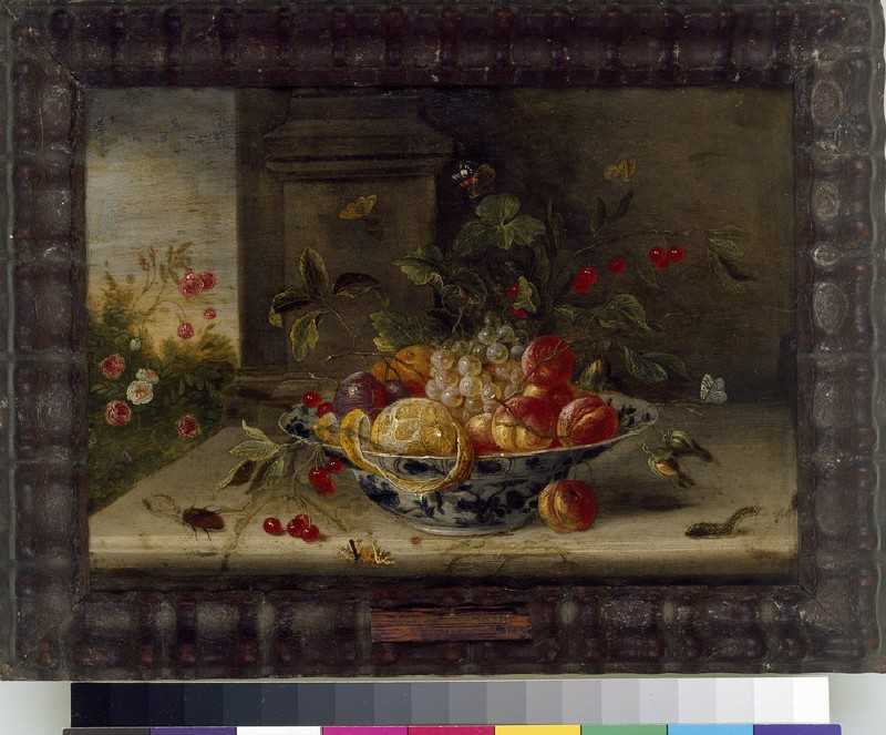 Decorative Still-Life Composition with a porcelain Bowl, Fruit and Insects (WA1940.2.48)