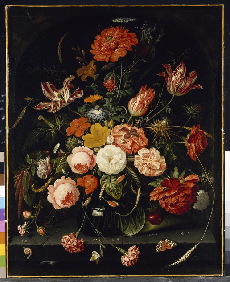 A Vase of Flowers with two Carnations and Snails and Butterflies