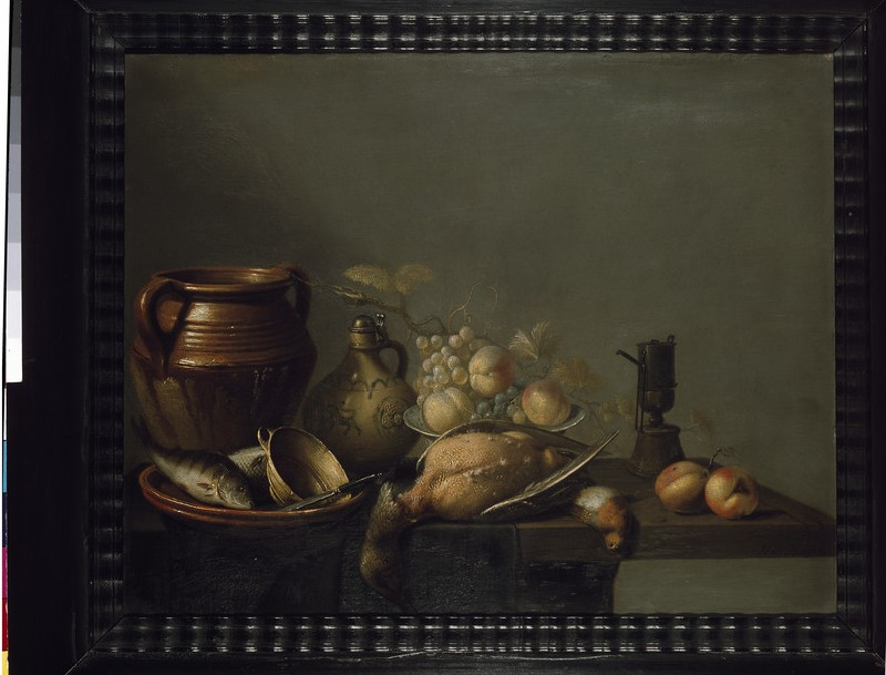 Still Life of Kitchen Utensils with Fruit and Game