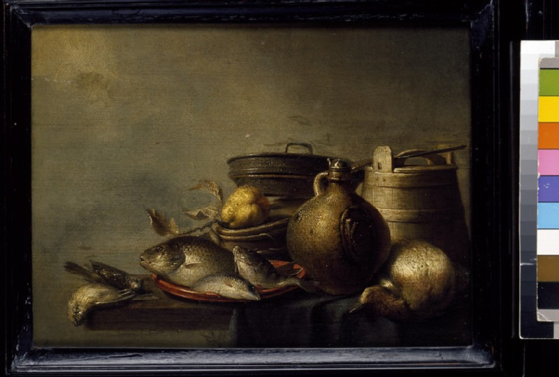 Still Life of Fish, a Pear, Game and Kitchen Utensils (WA1940.2.75)
