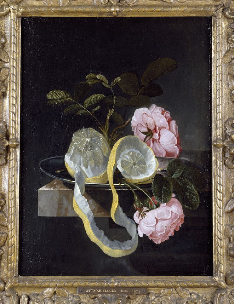 Still Life with a Lemon and pink Roses