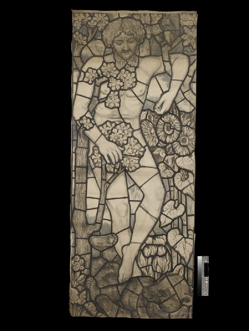 Design for a stained glass window of Adam