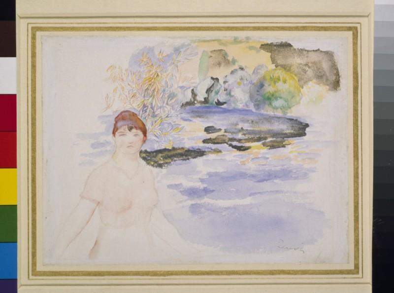 A woman seated by a lake (WA1940.4.3)