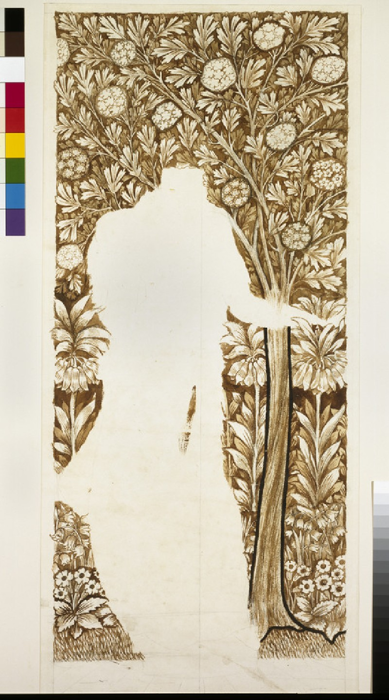 Design for the background to 'Spring', for the stained-glass windows of the 'Four Seasons' at Cragside House, Northumberland (WA1940.60)