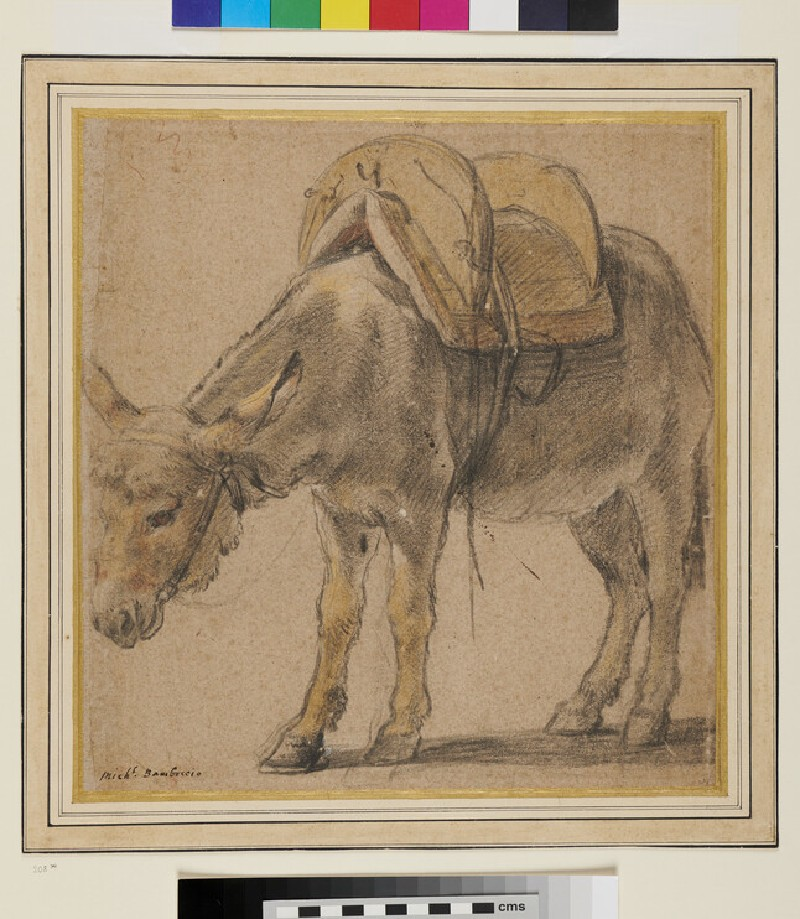 A Donkey turned to the left, wearing a Pack-saddle (WA1940.73, recto)