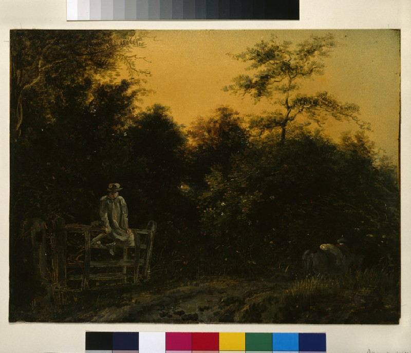 Landscape with a Track and a Man sitting on a Gate