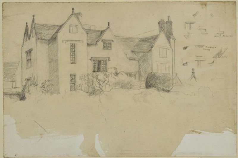 Kelmscott Manor with small architectural sketches