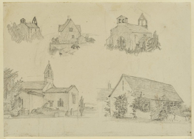 Sketches of St George's Church and a barn at Kelmscott