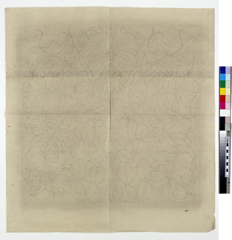 Design for an embroidered cushion cover: honeysuckle (WA1941.108.24)