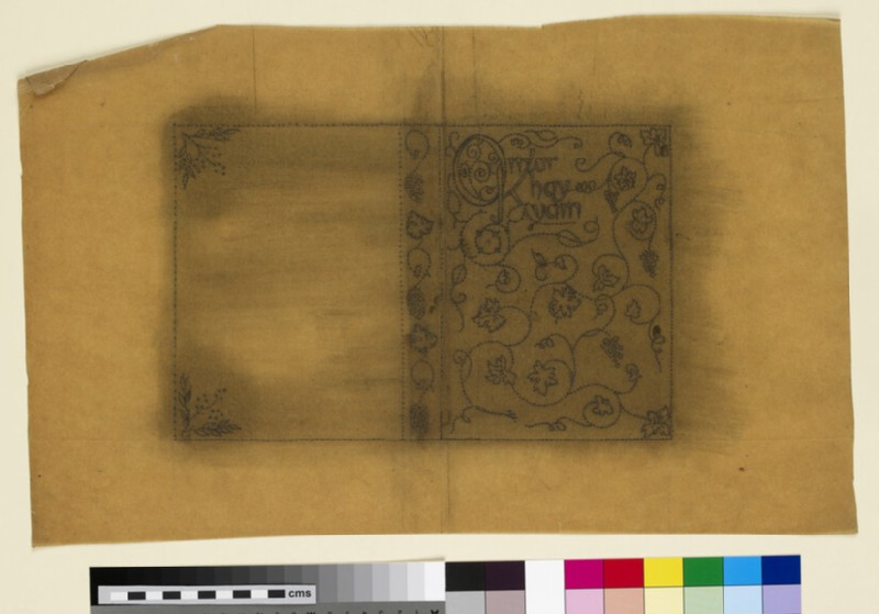 Design for an embroidered book cover: Omar Khayyam