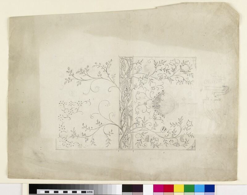 Design for an embroidered book cover: Embroidery and Lace