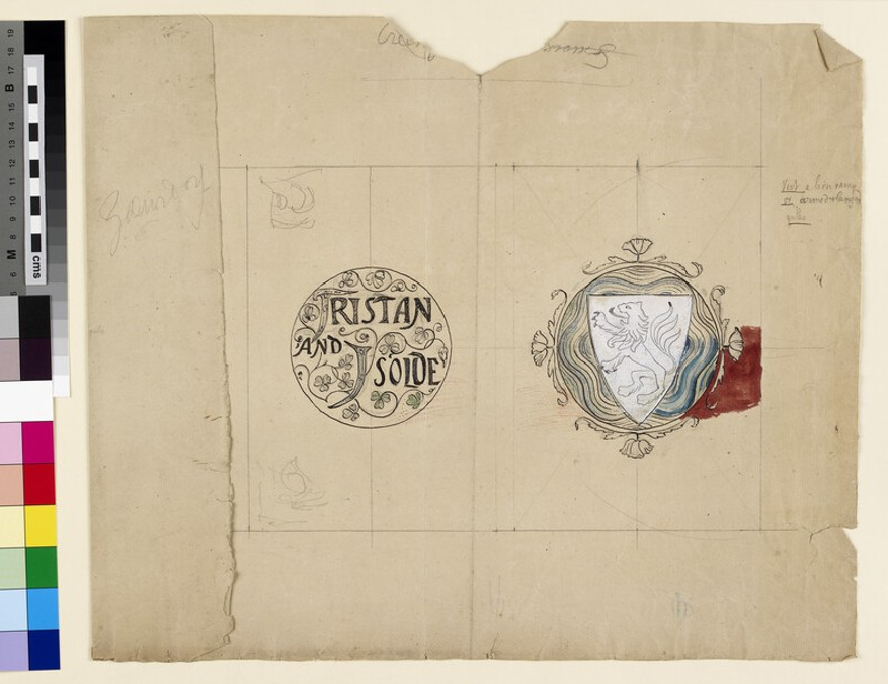 Recto: design for an embroidered book cover for 'Tristan and Isolde' 