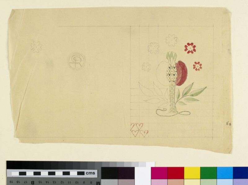 Bookcover design with pomegranate, flowers and hearts (WA1941.108.36)