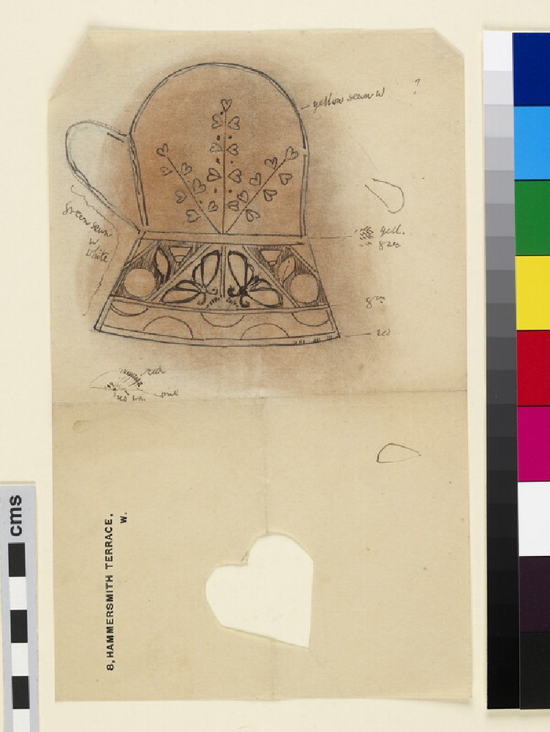 Design for Christening mittens with pinks and butterflies (WA1941.108.41)