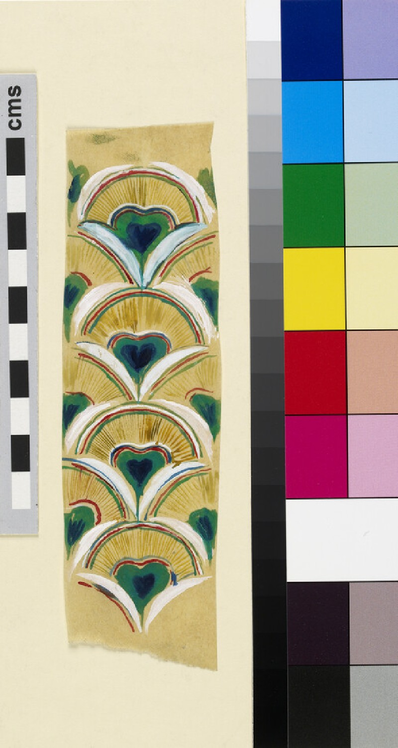 Repeating peacock feather design for centre front of bishop's mitre (WA1941.108.44)