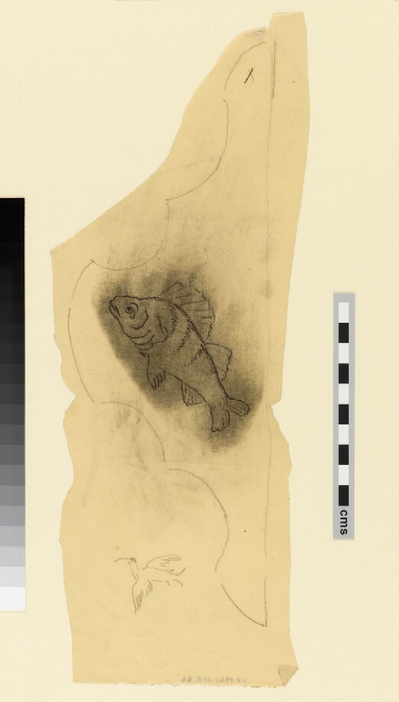 Design for the 'Kelmscott' bedspread: fish motif with small bird sketch below (WA1941.108.66)