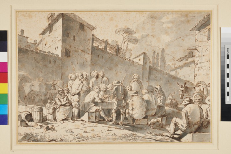 Group of Peasants seated and standing near the Wall of an Italian Town