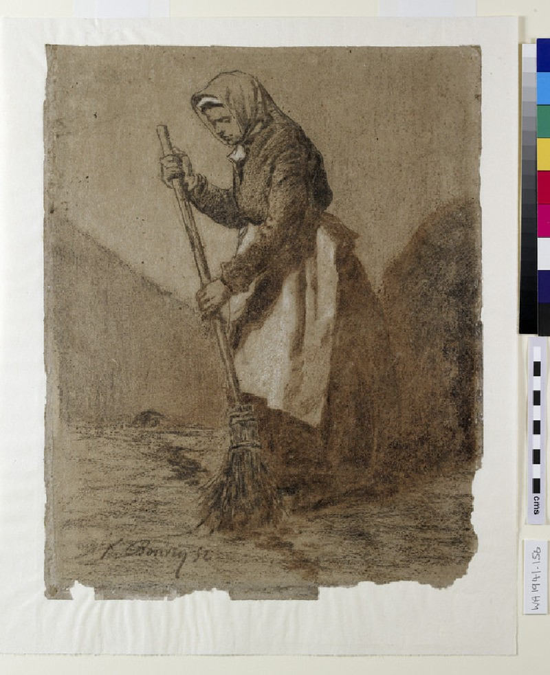 A woman sweeping, turned to left (WA1941.156)