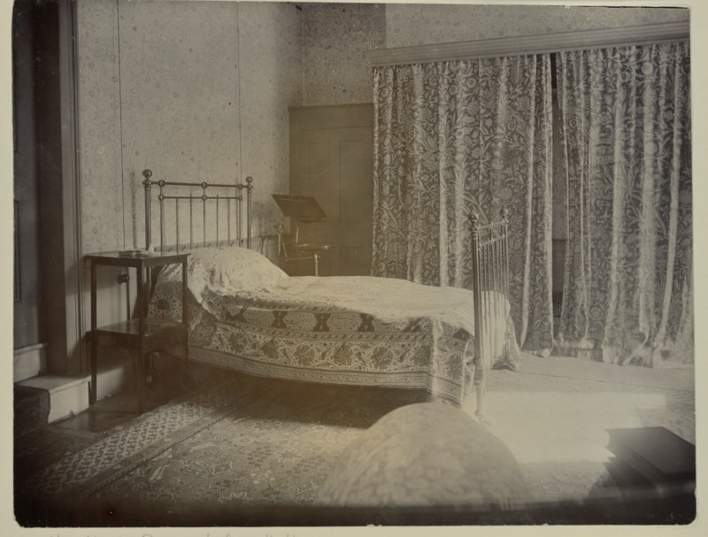 Jane Morris's bedroom at Kelmscott House, Hammersmith