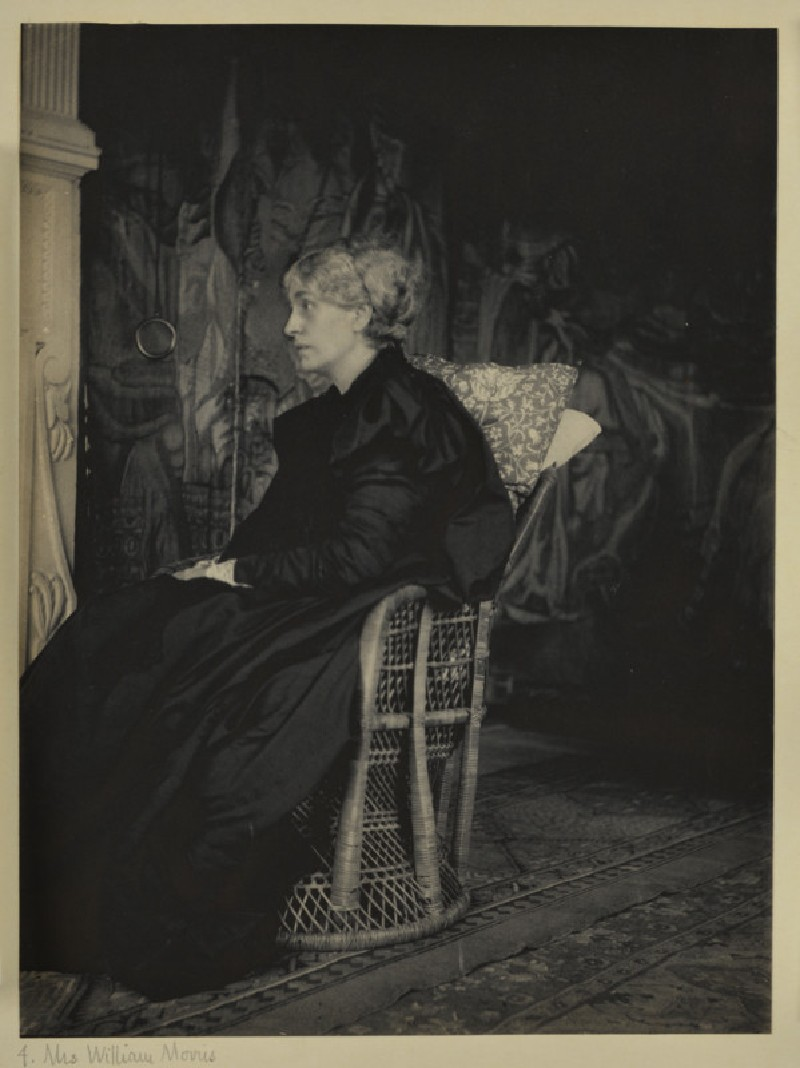 Jane Morris seated in profile in the Old Tapestry Room at Kelmscott Manor, Oxfordshire (WA1941.171.4)