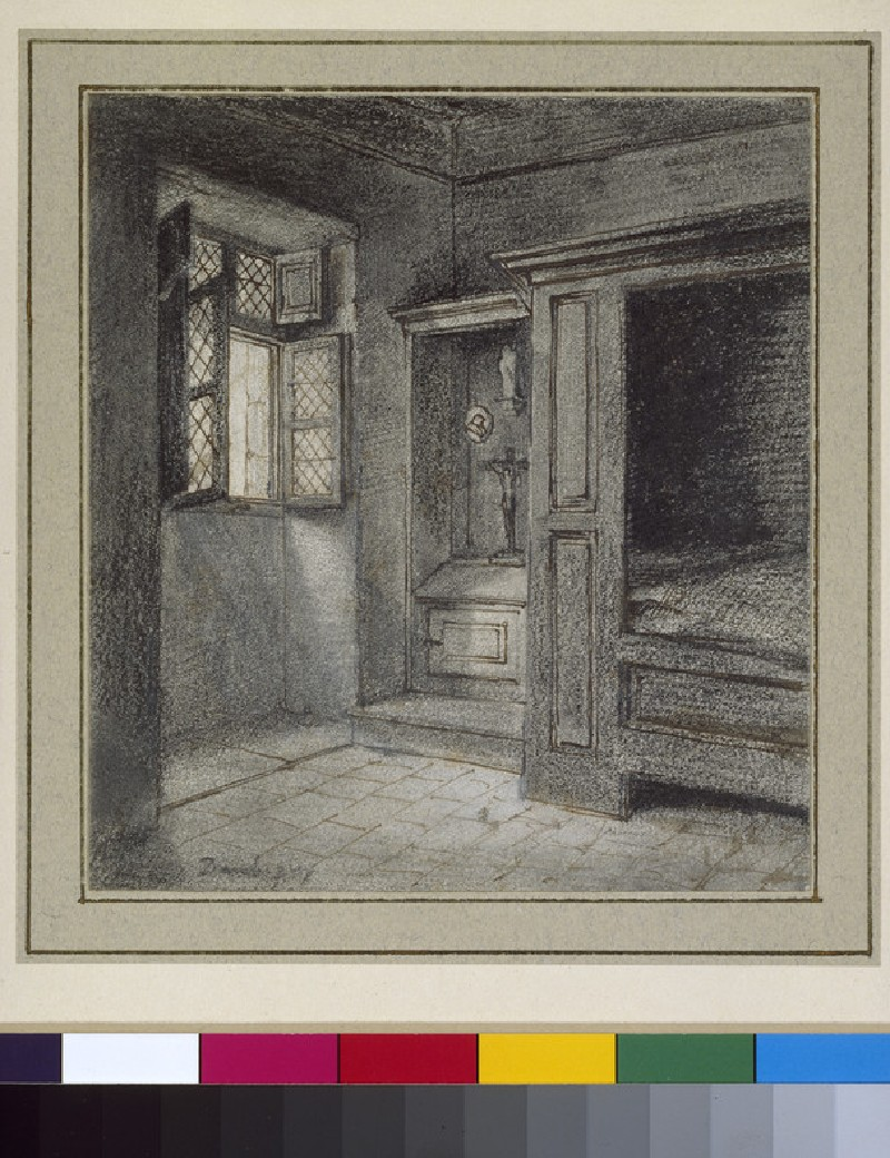 Interior of a bedroom with a sanctuary on the left