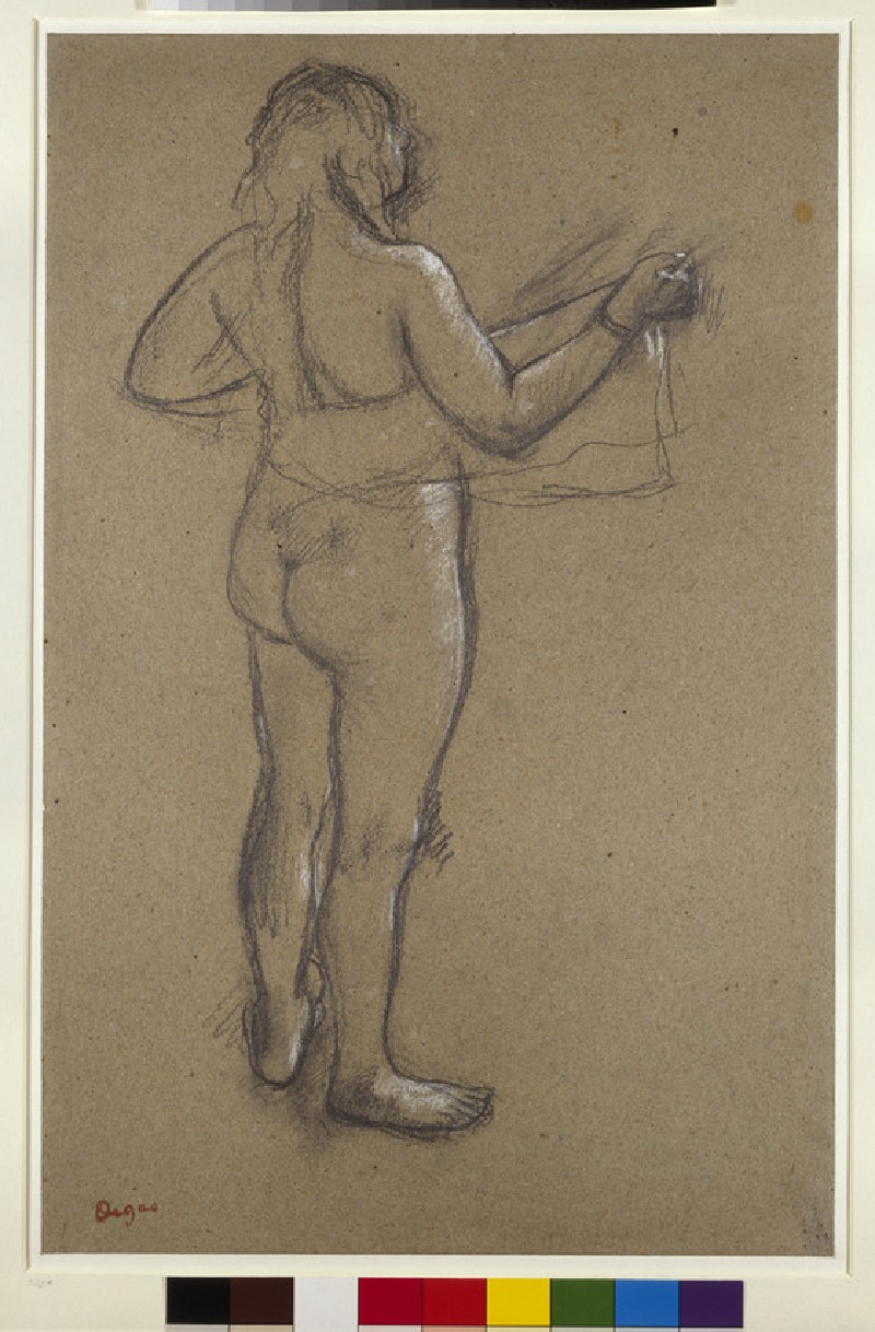 A nude woman drying herself with a towel, seen from behind