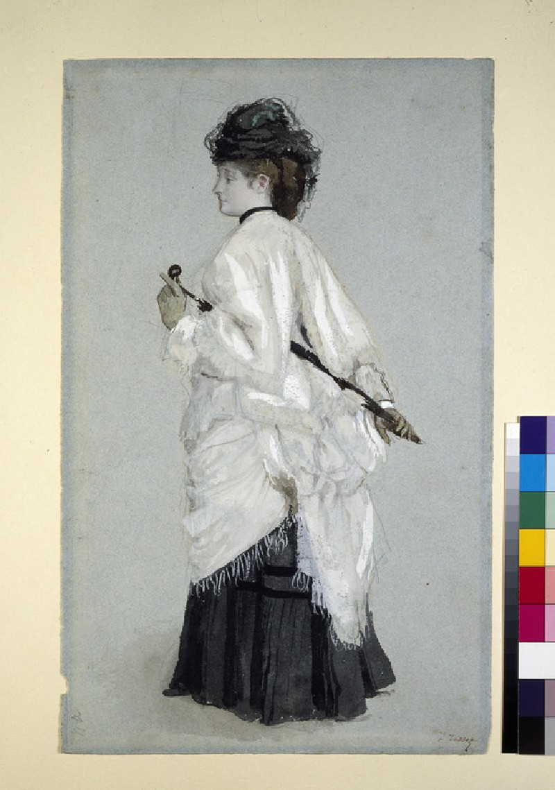 A woman in outdoor costume, standing, facing left