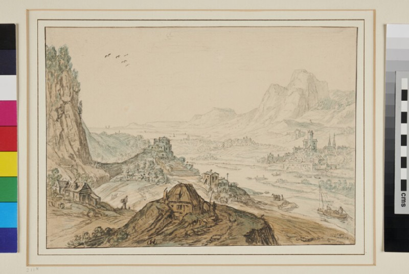 View along a broad Valley enclosed by rocky Heights on either side and with a Town situated on the Banks of a River in the middle distance