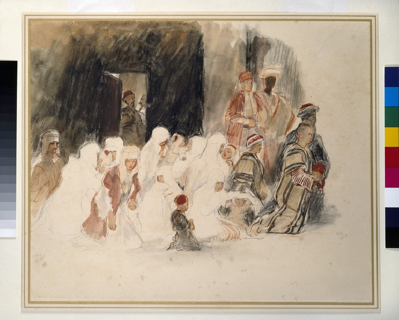 Figures kneeling in a Mosque