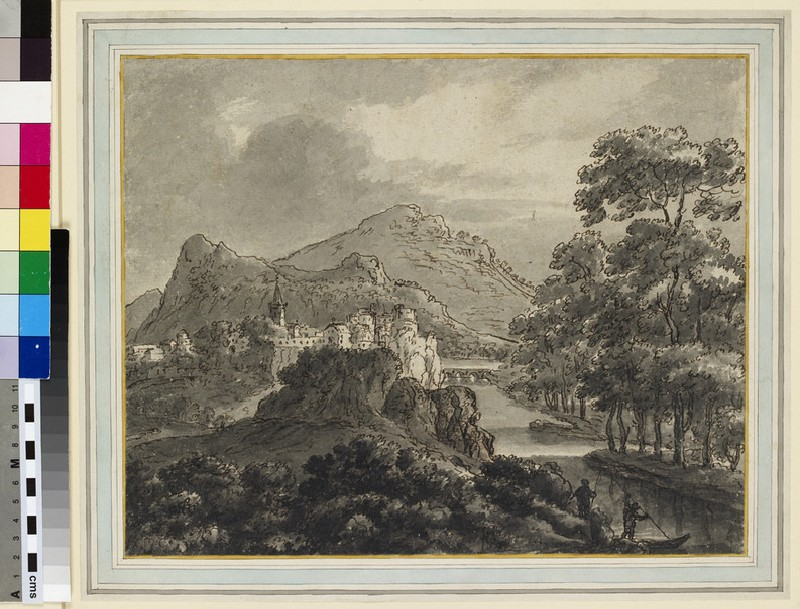 Mountainous Landscape with a Town and Castle by a River