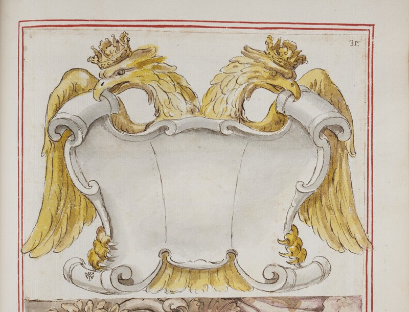 An empty cartouche backed by a crowned double-headed crowned eagle