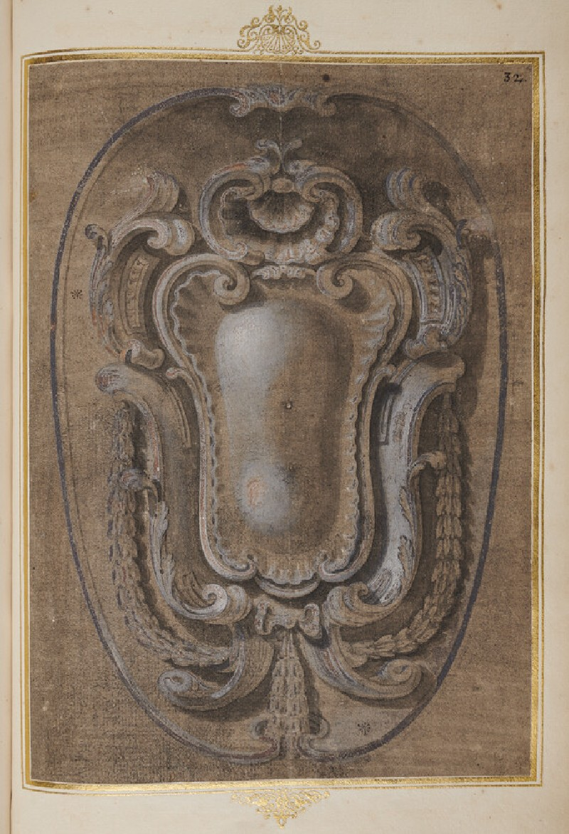 Recto: A large oval cartouche with shell decoration and festoons
