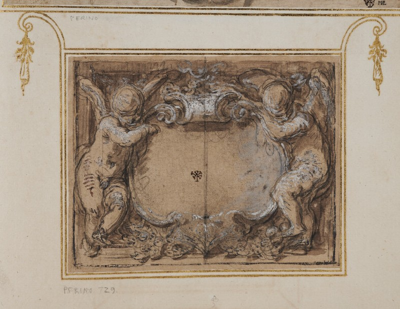 Two putti supporting a cartouche