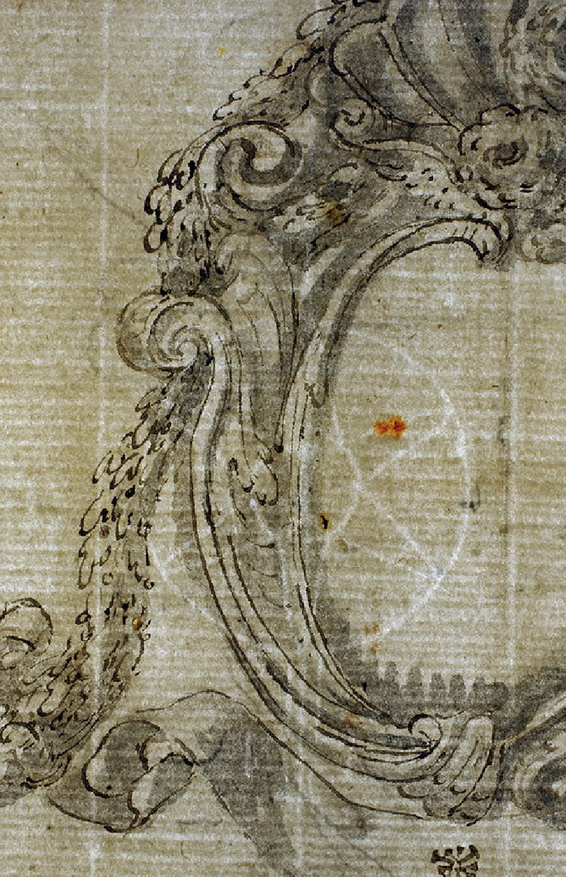 Recto: Two cartouches, showing alternative treatments for each, with scrolls beneath